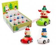 Figurka świąteczna drewniana - samochodzik